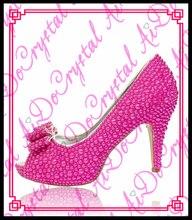 Aidocrystal handmade schöne reine fuchsia perle peep toe high heels 10 CM hochzeit partei schuhe frauen pumpen