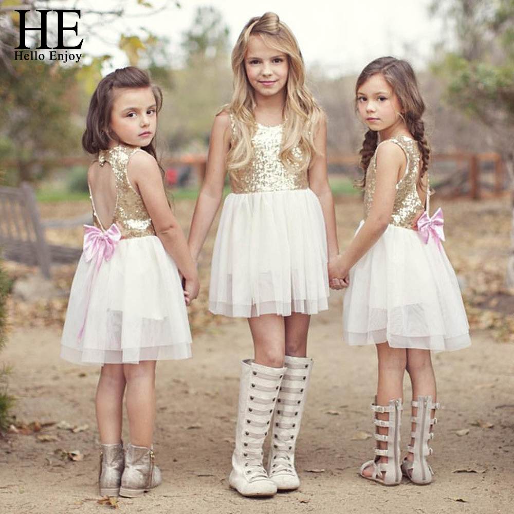Hello Enjoy girls dress kids clothes summer style Brand girls clothes Golden Love Backless bow wedding dresses for girls 3-7y