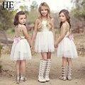 Olá Desfrutar meninas vestem a roupa dos miúdos Marca de estilo de verão roupas das meninas de Ouro Amor arco Sem Encosto vestidos de noiva para meninas 3-7y