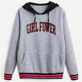 Women Autumn Sweatshirt Girl Fower Letter Printed Round Neck Hedging Hooded Pullover Sudaderas Mujer