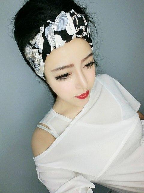 09136134867e women vintage 50s black white floral print bow tie headband rockabilly  pinup style bandans hair scarf