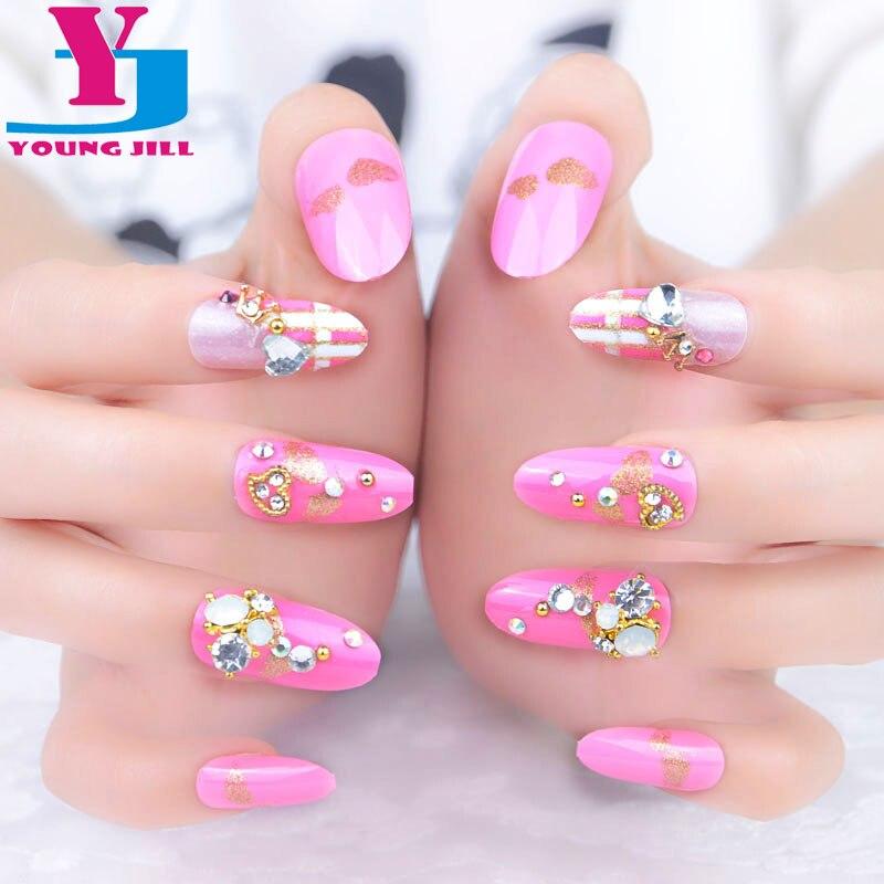 3D false nails Decorated crystal fake nails with nail glue ...