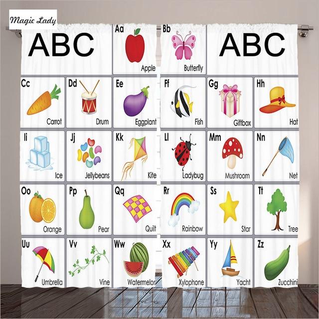 Kids Shower Curtain Funny Educational Alphabet Letters Kite Xylophone Ladybug Zucchini Drum Lovers Art 2 Panels