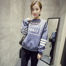 Long sleeved printing letters loose sleeve head plus cashmere fleece thickened students SK22