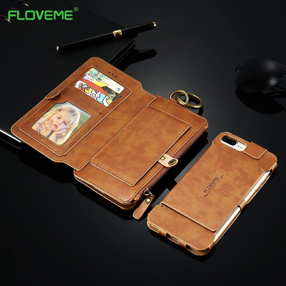 imágenes para FLOVEME Para iPhone 7 Caja de Lujo Retro de Cuero Suave Titular de la Tarjeta de Protección Caja del teléfono para el iphone 5 5S SE 6 6 S 7 Más Caso cubierta