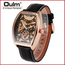Men  fashion watches  hollow machinery metal case gold and silver watch with leather strap