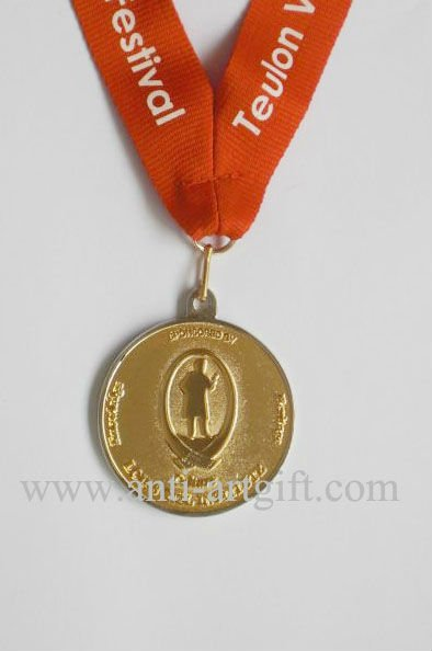 Индивидуальные Золото Medaille высокого качества 2D логотип красный riboon