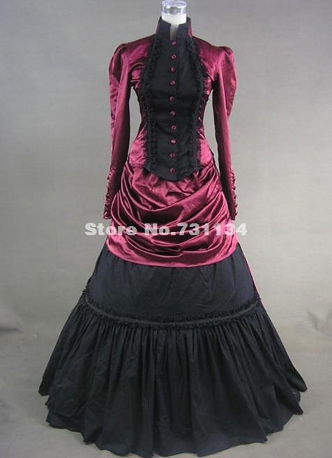 Высококачественная винно-красная длинная юбка в викторианском стиле женское платье с бантом бальное платье Рождественский костюм певицы по индивидуальному заказу