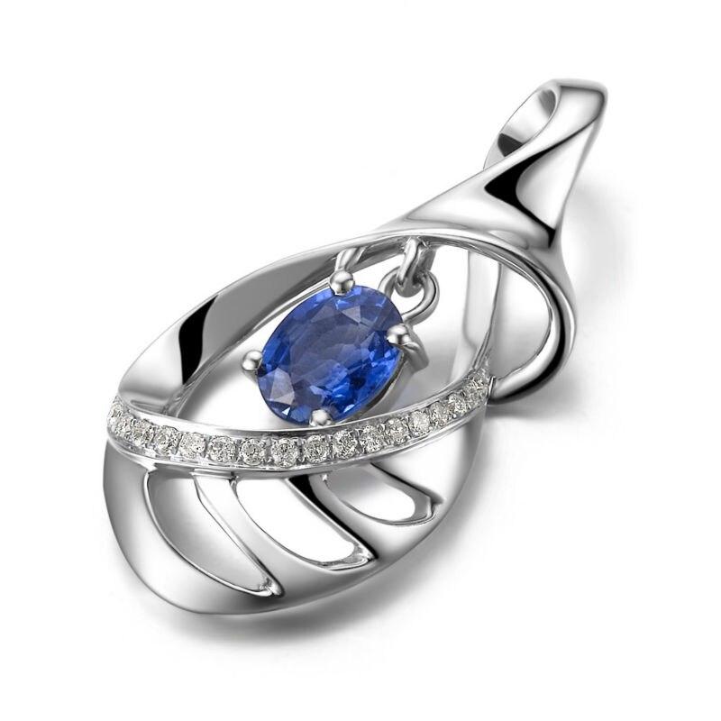 GVBORI 18 K белое золото натуральный драгоценный камень сапфир подвеска на серебряной цепочке ожерелье ювелирные украшения Рождественский Алмаз Кулон