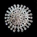 1,8 дюймов прозрачный кристалл Диаманте слоновой кости искусственный жемчуг Снежинка вечерние брошь как серебро, так и золото