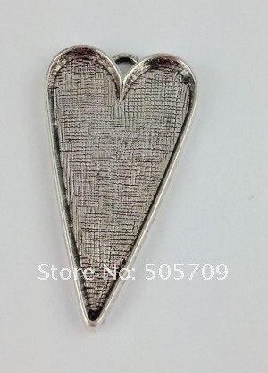 10 шт. Тибетский серебристый цвет сердце подвеска Blanks футболки для девочек 42x26 мм A11251