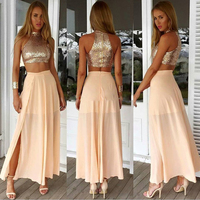 07eec6328 2016 Sexy Two Piece Graduation Dress Girls Chiffon Sequined Ankle Length 8th  Grade Prom Homecoming Dresses. US  169.00