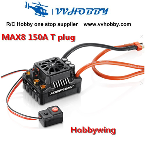 Hobbywing EZRUN Max8 150A ESC Waterproof WP Brushless Speed Controller for RC 1/8 car with T plug sensorless 35a brushless esc electric speed controller for rc car racing set ft