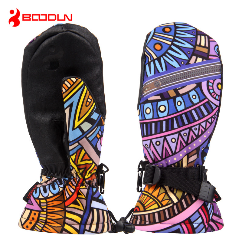 Boodun Winter Thermal Snowboard Ski <font><b>Gloves</b></font> Men Women Windproof Waterproof Luvas Para Ciclismo Thickening Gants Moto