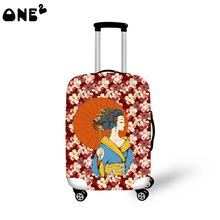 2016 ONE2 Design kimono woman pattern cover apply to 22,24,26 inch protective japanese custom printed luggage cover
