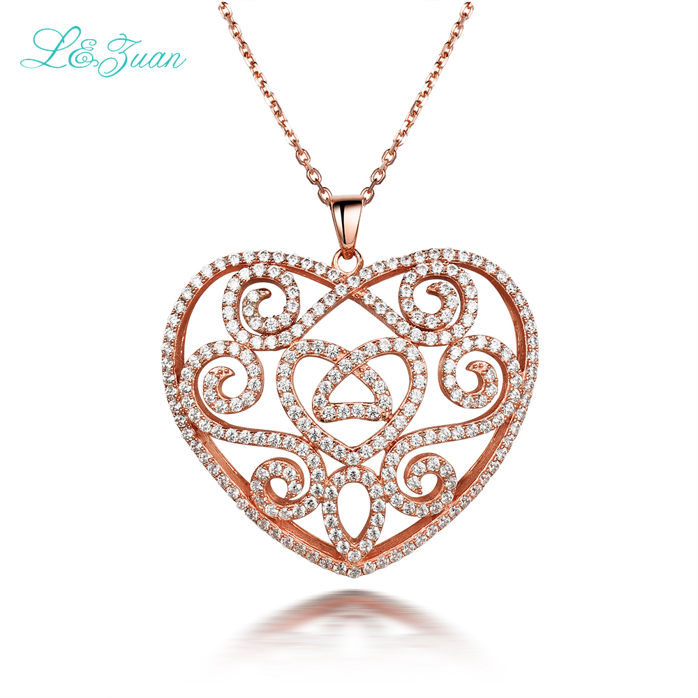 S925 silver Zircon Womens pendants necklaces Romantic Lace heart Full Gems Fine Jewelry Sweater chain christmas gift