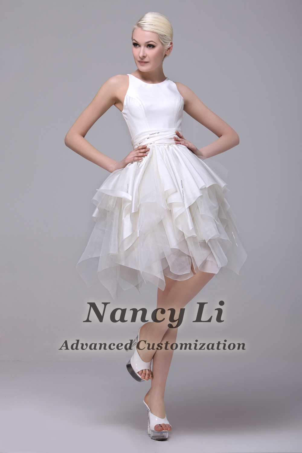 Free shipping 2013 cutest short wedding dress a line knee length dns 1332 1g ombrellifo Image collections