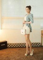 бесплатная доставка 2015 новинка женские платья рукав три cheer - белый и зеленый # 12300