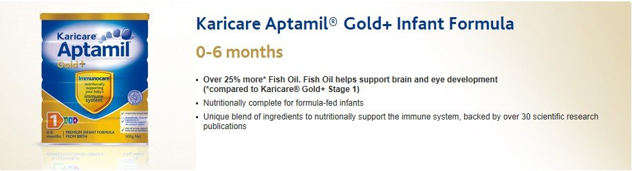 Free Shipping!Karicare Aptamil Milk Powder Gold+ Infant