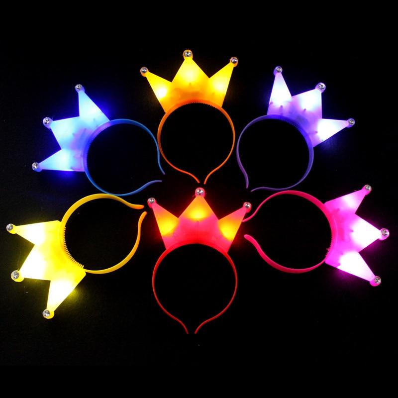 12gab / lot Glow light Crown Xmas vadīja gaišus galvassegas dzimšanas dienas svinību dekorēšanai ar krāsainu svina galvas bērnu dāvanu