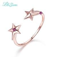 14 K זהב הטבעי רובי יהלומי כוכב l & zuan תכשיטי יוקרת טבעת אירוסין טבעת נישואים טרנדי גיאומטרי פשוט פתוח לאישה