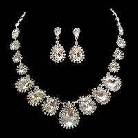 Snuoy Luksusowe Big Water Drop Bride Jewelry Sets Srebrny Rhinestone Choker Komunikat Naszyjnik I Kolczyki Ślubne dla Kobiet