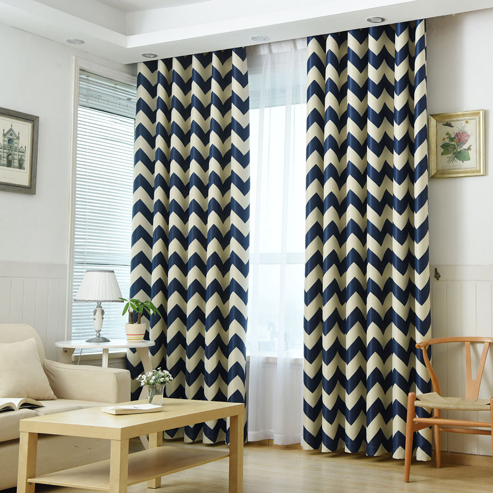 Cafe curtains for bedroom - Curtains For Bedroom Mediterranean Style Window Decoration Striped Pattern Blackout Living Room Curtains Single Panel