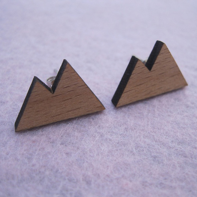 Wood stud earrings double moustain design for craft  making jewelry