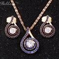 Женщины ювелирные изделия позолоченные Австрийский хрусталь имитация сапфир ювелирные Наборы Ювелирные Наборы Цепи Ожерелье Серьги наборы (JS0063)