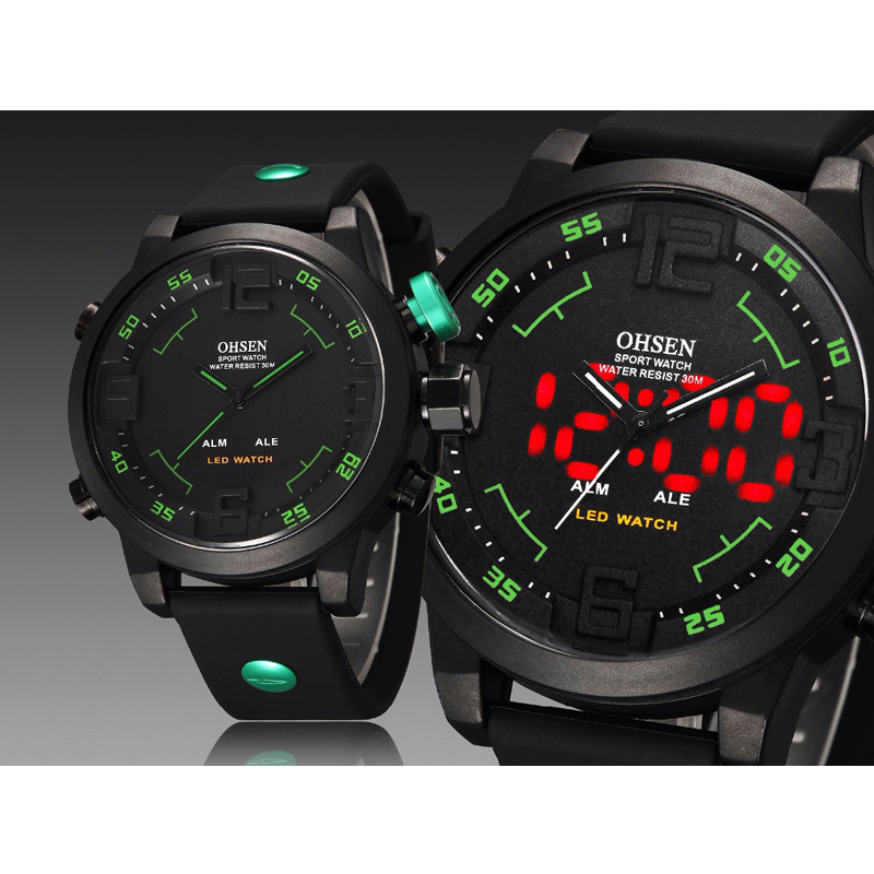 Ohsen Sports Mens Watches Top Brand Luxury Analog LED Digital Quartz Big Dial Silicone Men Watch