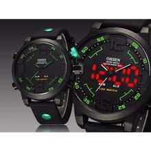 OHSEN спортивные мужские часы лучший бренд Роскошные Аналоговый светодиодный цифровой кварцевые Большой циферблат силиконовые мужские часы водонепроницаемые военные часы наручные