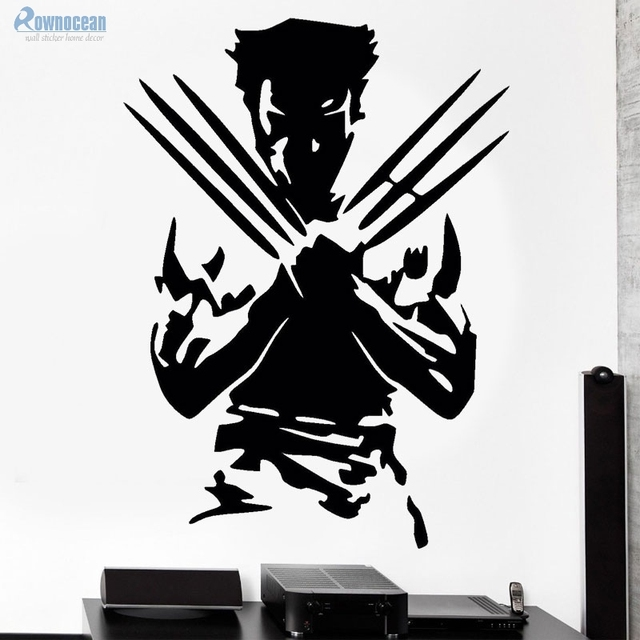 Rownoceam movie characters wolverine x man wall sticker superhero vinyl decals art home decor living room