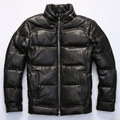 2017 New Men Black Short Genuine Leather Goose Down Jacket Stand Collar Real Sheepskin Slim Fit Thick Warm Coat FREE SHIPPING