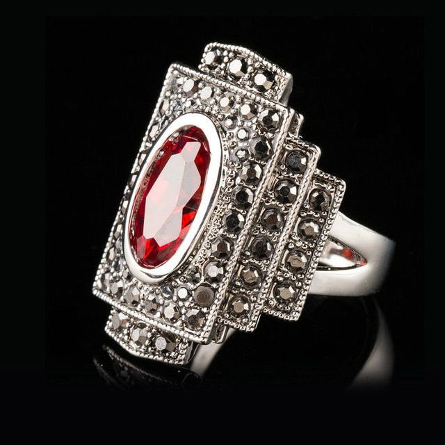 Jenia Antique Red Austrian Crystal Ring with Marcasite Stones Retro Gold Color Ring Jewelry for Women and Men XR306