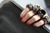 оформление камень панк-череп кольцо сумки искусственная кожа драгоценный камень кристалл клатч вечернее цепочка женская мода сумочка черный оптовая продажа