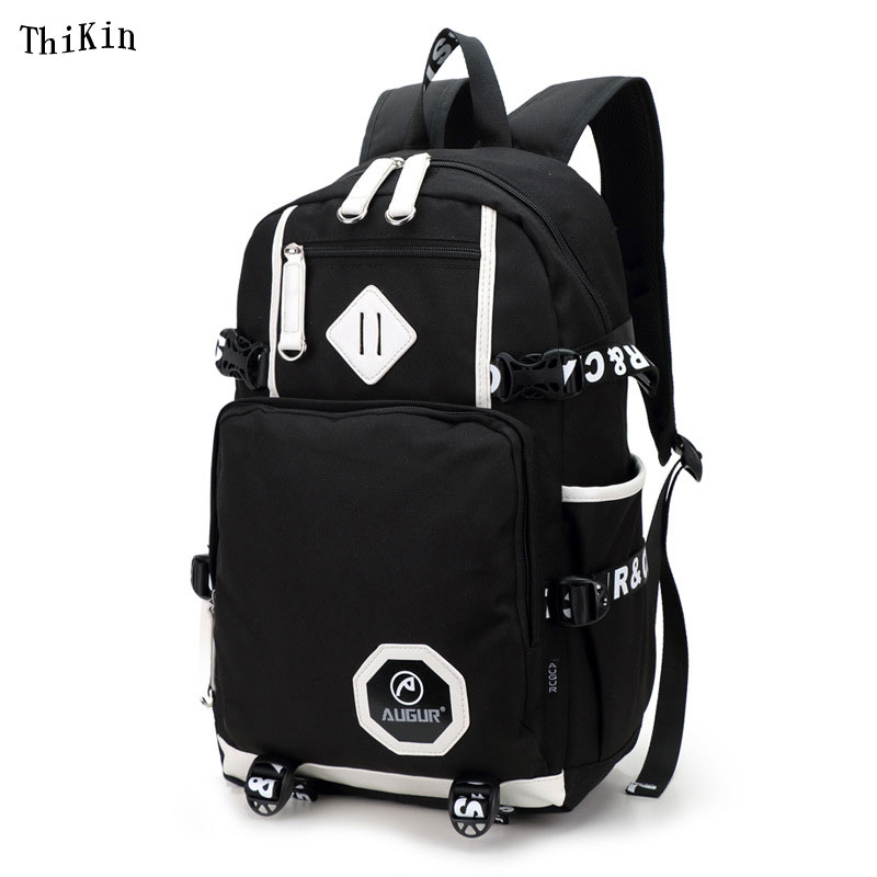 ThiKin Korean School Backpack for Girls Men Vintage School Bags Travel Canvas Knapsack Portable Women Rucksack