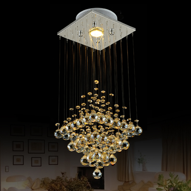 T Best Price Modern Lustre Rectangular Crystal Chandeliers For Dining-room Pandent Lamp With LED Bulbs For Entrance Aisle