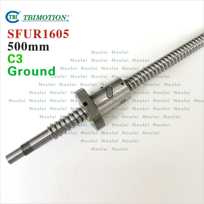 TBI 1605 C3 500mm ball screw 5mm lead with SFU1605 ballnut + end machined for high precision CNC diy kit SFU set tbi 2510 c3 620mm ball screw 10mm lead with dfu2510 ballnut end machined for cnc diy kit dfu set