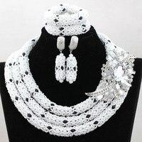 Màu trắng và Màu Đen Phi Jewelry Đặt Pha Lê Rhinestone Bridesmaid Phụ Nữ Cưới Vòng Cổ Đặt Miễn Phí Vận Chuyển WA864