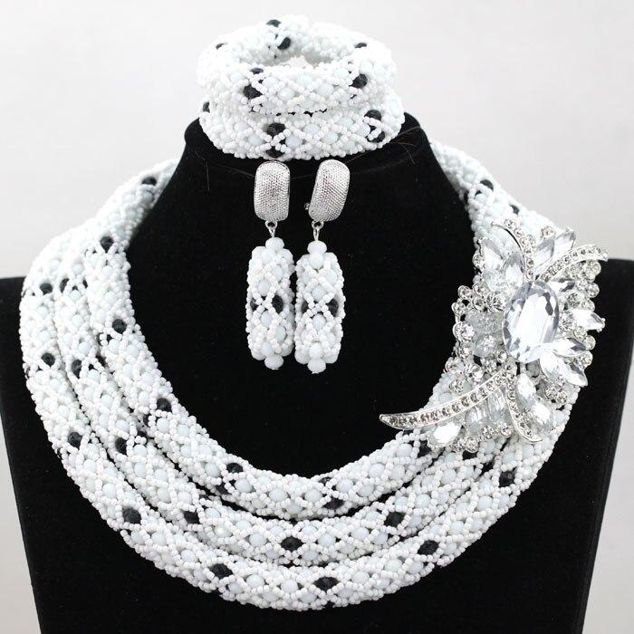 Perles africaines blanches et noires ensemble de bijoux cristal strass demoiselle d'honneur femmes collier de mariage ensemble livraison gratuite WA864