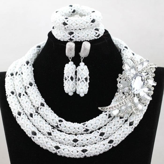 White and Black African Beads Jewelry Set Crystal Rhinestone Bridesmaid Women Wedding Necklace Set Free Shipping WA864 graceful white african bridal beads jewelry set nigerian crystal rhinestone bridesmaid women wedding necklace free ship qw677