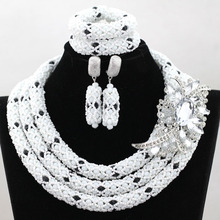 White and Black African Beads Jewelry Set Crystal Rhinestone Bridesmaid Women Wedding Necklace Set Free Shipping WA864