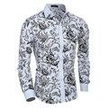 Havaí homens casuais camisas de Manga Longa de Impressão Floral camisa slim fit homem social de Fitness 60% algodão turn-down collar homme camisas