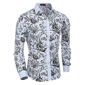 Hawaii men casual shirts Long Sleeve Print Floral slim fit man social shirt 60% cotton Fitness turn-down collar homme camisas