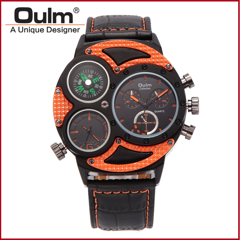 Designer Fancy Quartz Wristwatch Watch Wrist with Compass Dual Time Zone Men Watch Hot Sale HP3594-1 Brass Fashion Casual oulm hp9865 pc21s japan movement quartz watch with decorated compass dual time zone watch