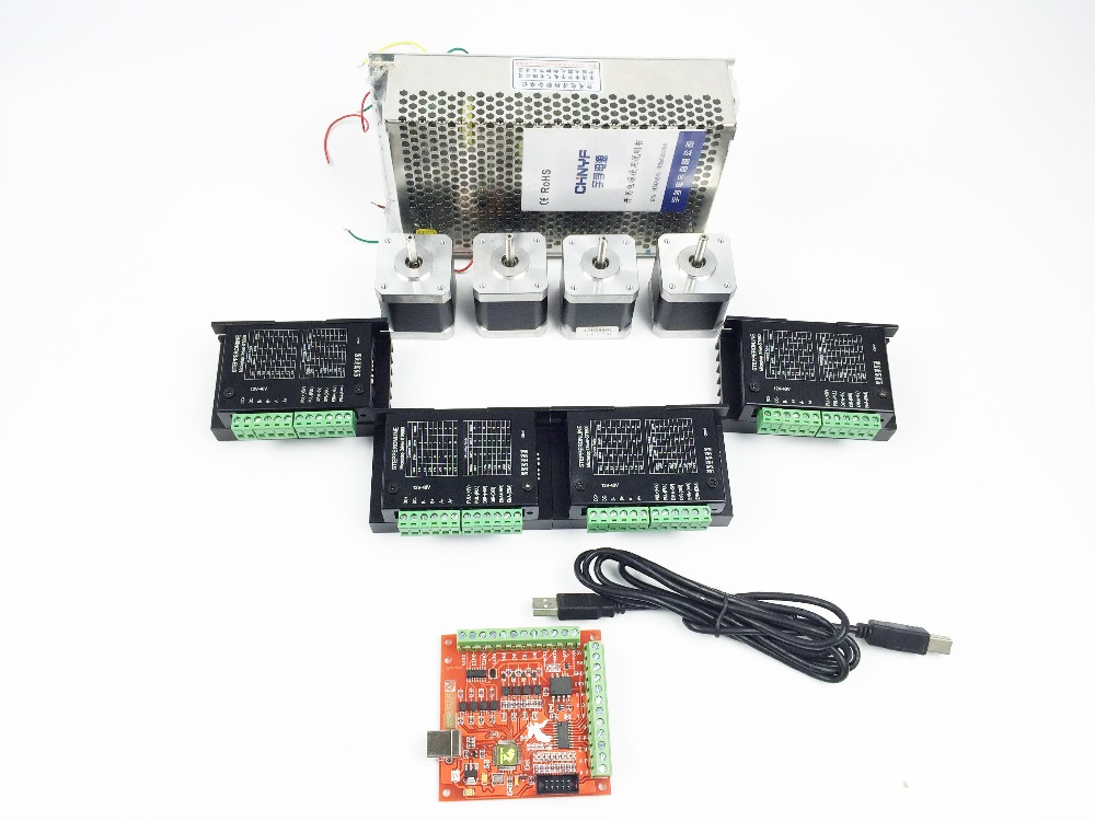 CNC Router Kit 4 Axis, 4pcs TB6600 4.0A stepper motor driver +4pcs Nema17 0.44NM motor+ mach3 USB stepper motor + power supply dc36v 350w 9 7a switching power supply 115v 230v to stepper motor diy cnc router