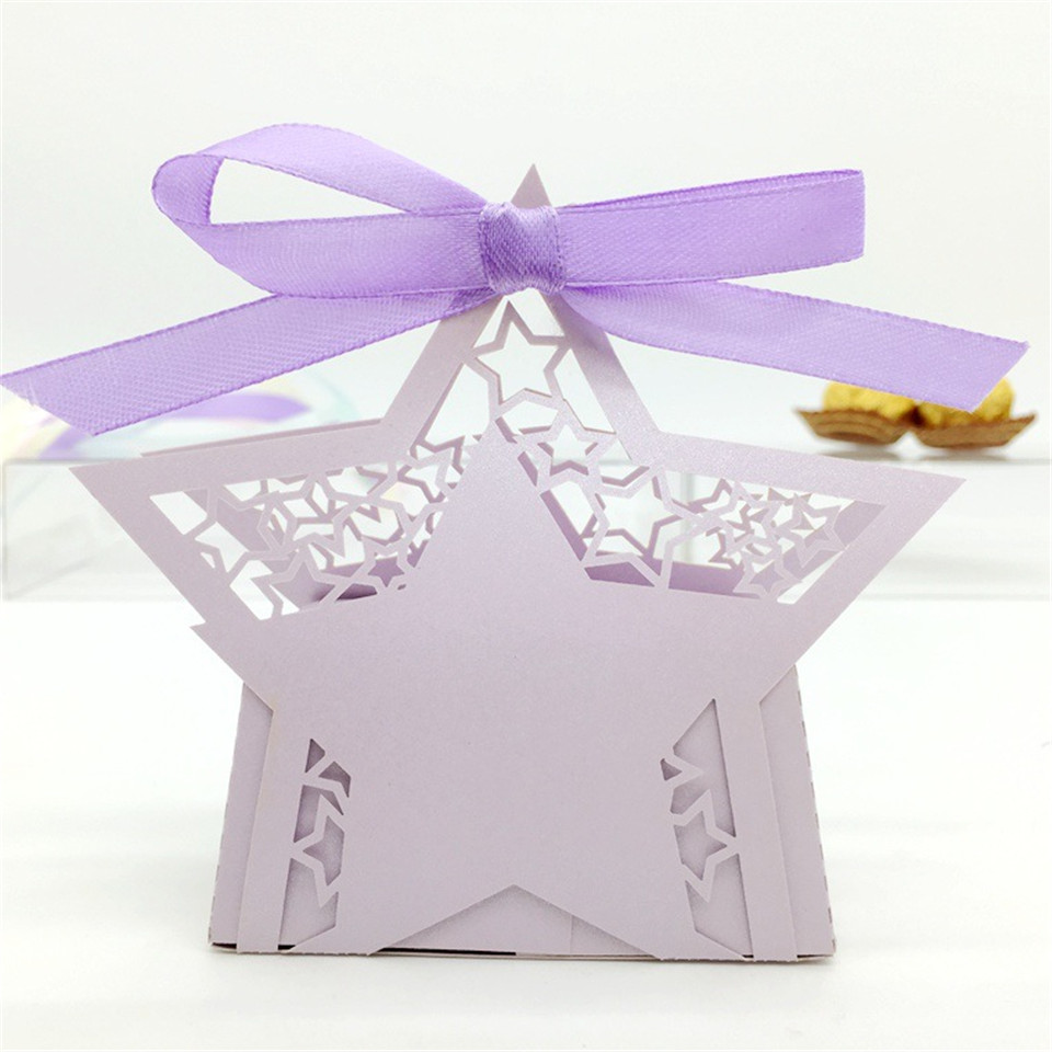 50pcs wedding favor colorful chocolate candy box little star with ...