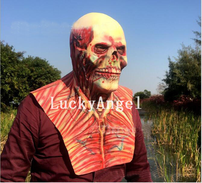 horror halloween cosplay latex costume bloody zombie mask melting full face walking dead scary carnival mardi gras party masks - Bloody Halloween Masks
