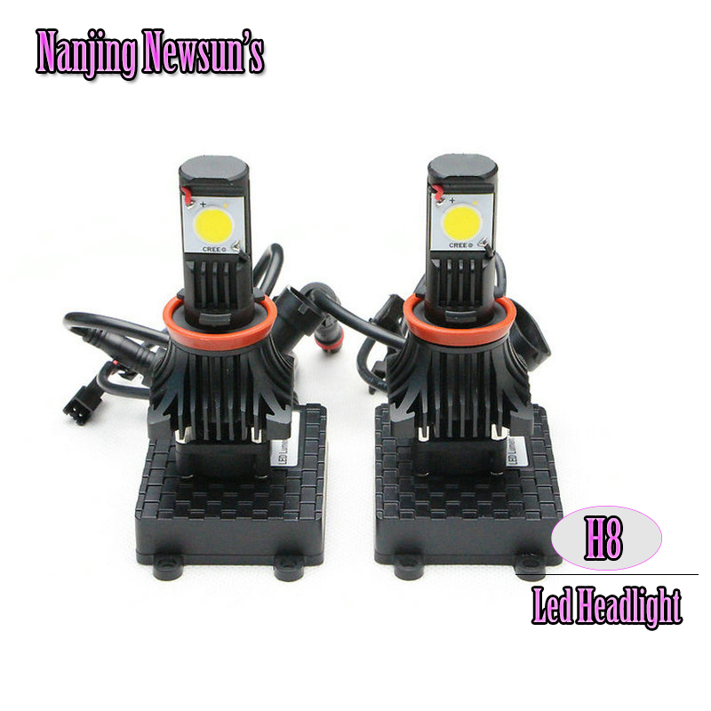 ФОТО 2x H8 Car Tuning Accessories Auto Led Front Headlight Conversion Kit Single Beam 6000K Super Bright Cree Chip Headlamp 1800Lm