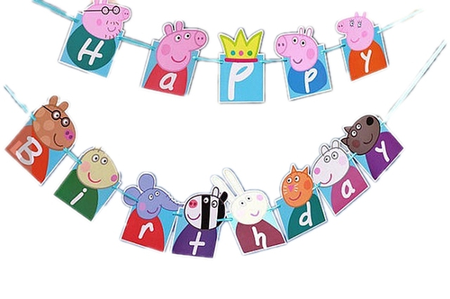 Cute Pigs Happy Birthday Banner Bunting Themed Party Flags